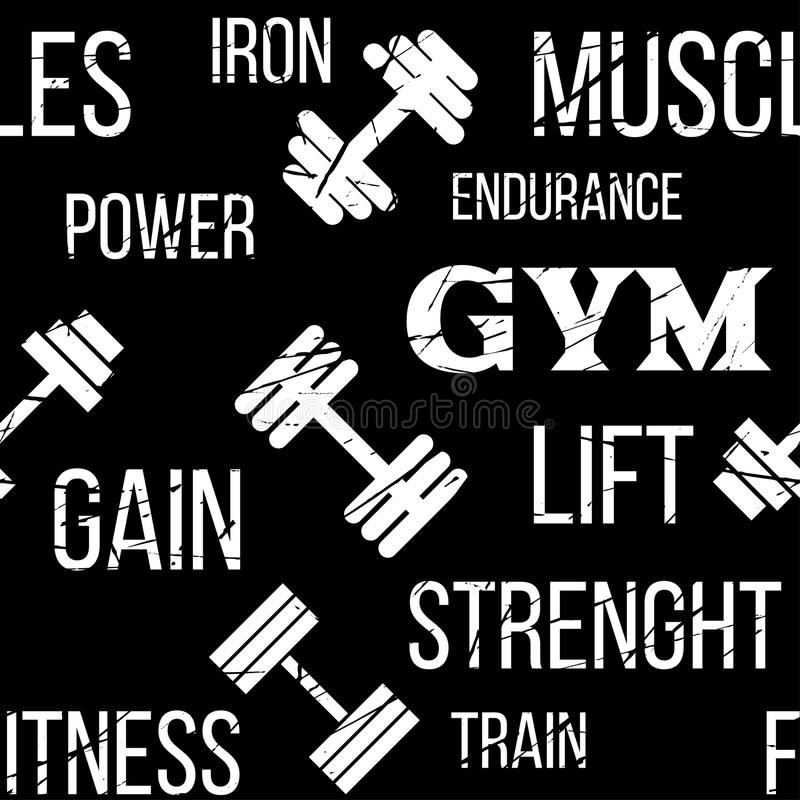 Typographic vector fitness gym seamless pattern or background. Fitness design elements, gym label dumbbell. Grunge vector illustration