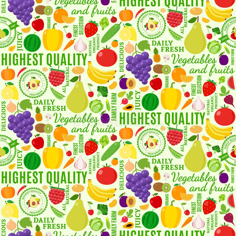 Typographic vector fruits and vegetables seamless pattern royalty free illustration