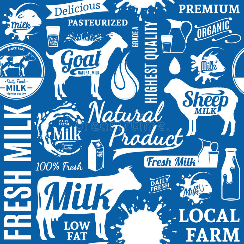 Typographic vector milk seamless pattern or background. Milk icons collection for groceries, agriculture stores, packaging and advertising vector illustration