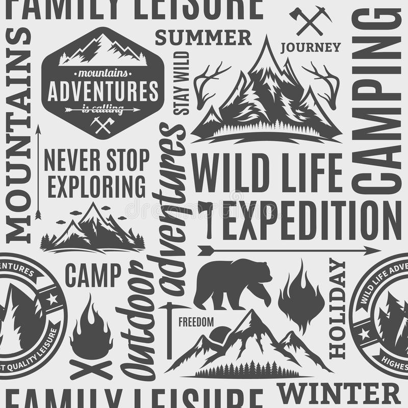 Typographic vector mountain and outdoor adventures seamless pattern or background vector illustration
