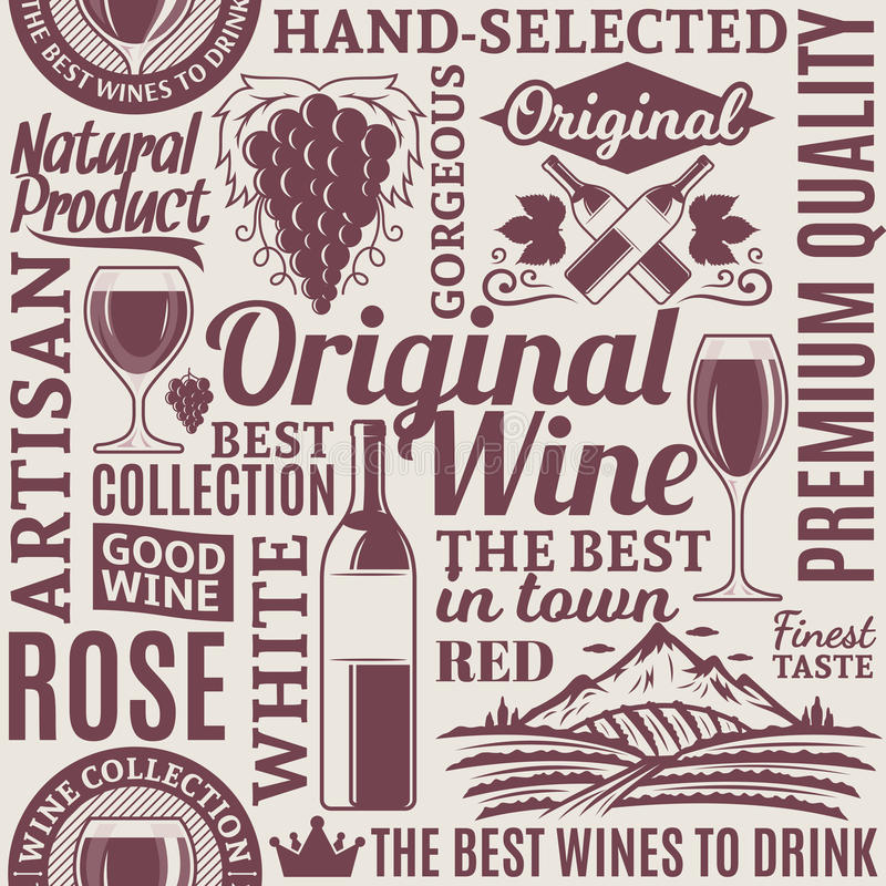 Typographic vector wine seamless pattern or background. Wine icons and design elements for wine shop, restaurant menu, labels, winery branding and identity stock illustration