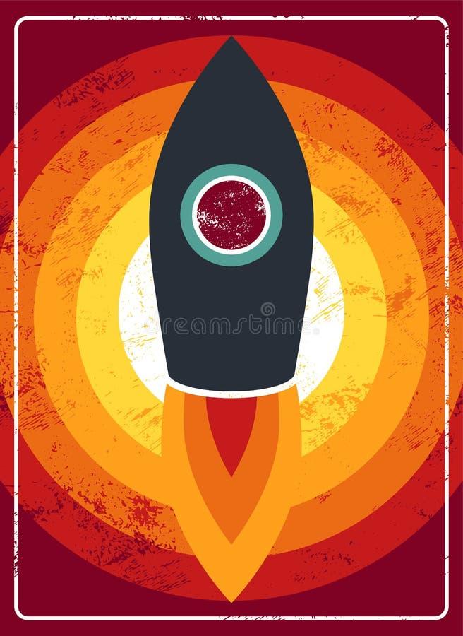 Typographic vintage cartoon rocket on space poster design. Retro vector illustration. stock illustration