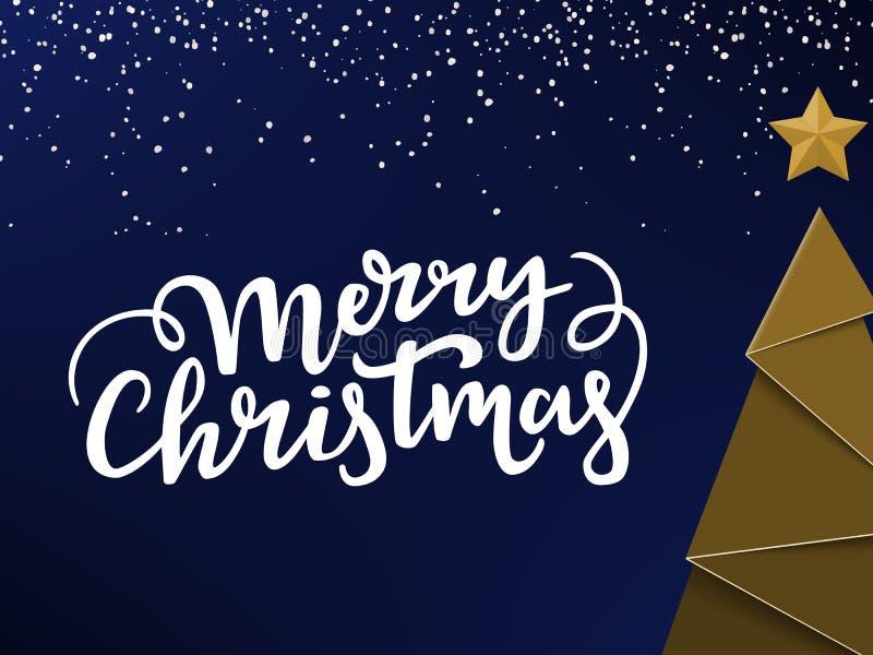 Typographical kartka bożonarodzeniowa projekt Złoty Ney roku drzewo, gwiazda, Xmas literowanie i snowon tło, błękitny i zimny royalty ilustracja