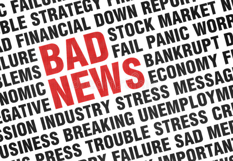 Typographical print of Bad News stock illustration