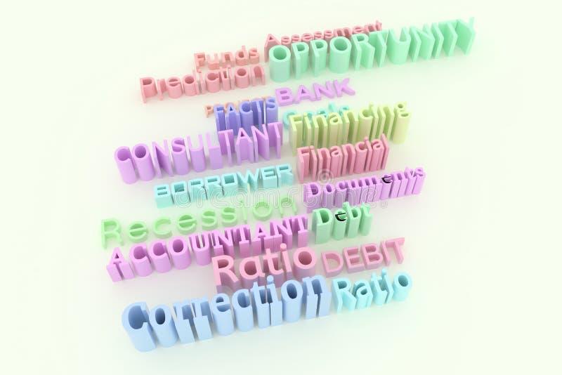 Typographie abstraite de cgi, mots-clés liés au marché Papier peint pour la conception graphique Prévision, buts, rapport, docume photographie stock