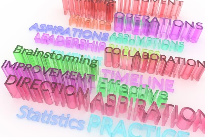 Typographie abstraite de cgi, mots-clés liés au marché Papier peint pour la conception graphique Transparent, aspirations, plasti illustration stock