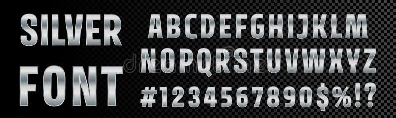 Typographie argentée d'alphabet de nombres et de lettres de police Type argenté métallique de police de chrome de vecteur, gradie illustration de vecteur