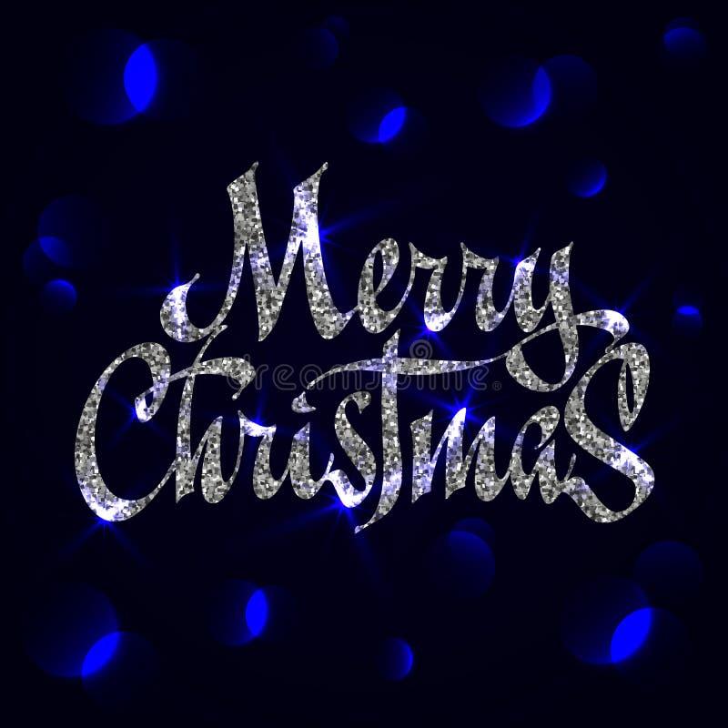 Typographie argentée de Noël de scintillement, écriture Carte de voeux de Joyeux Noël avec le bokeh illustration libre de droits