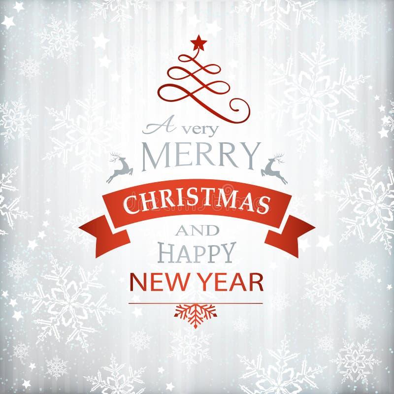Typographie argentée rouge de fond de Noël illustration libre de droits