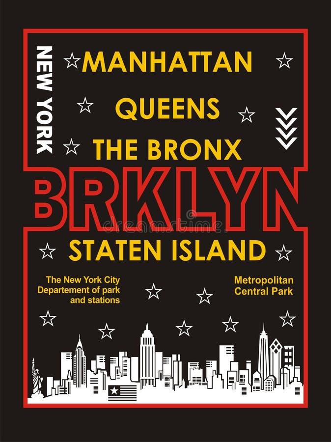 Typographie Brooklyn, vecteur illustration de vecteur