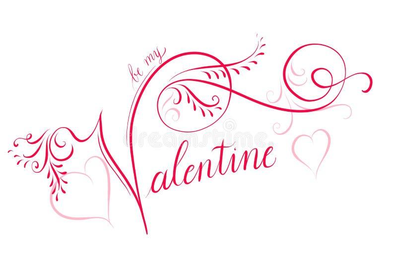 Typographie calligraphique de Handlettered pour le jour de Valentine's illustration libre de droits