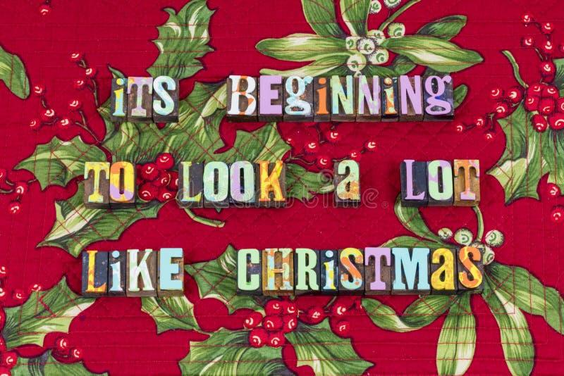 Typographie commençante de jour de joie de Noël de regard images stock