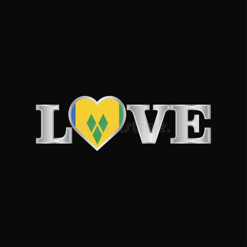 Typographie d'amour avec la conception VE de drapeau de Saint Vincent et de grenadines illustration libre de droits