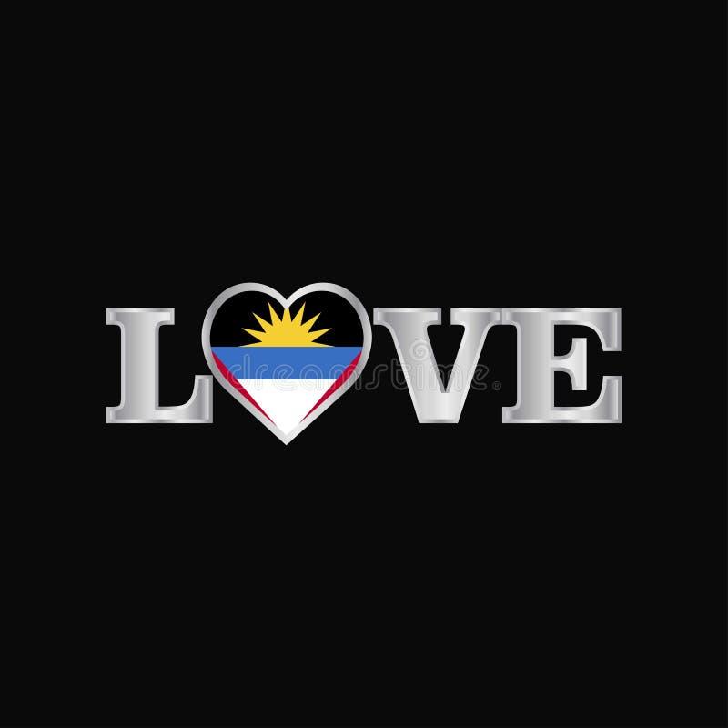 Typographie d'amour avec le vecteur de conception de drapeau de l'Antigua-et-Barbuda illustration de vecteur