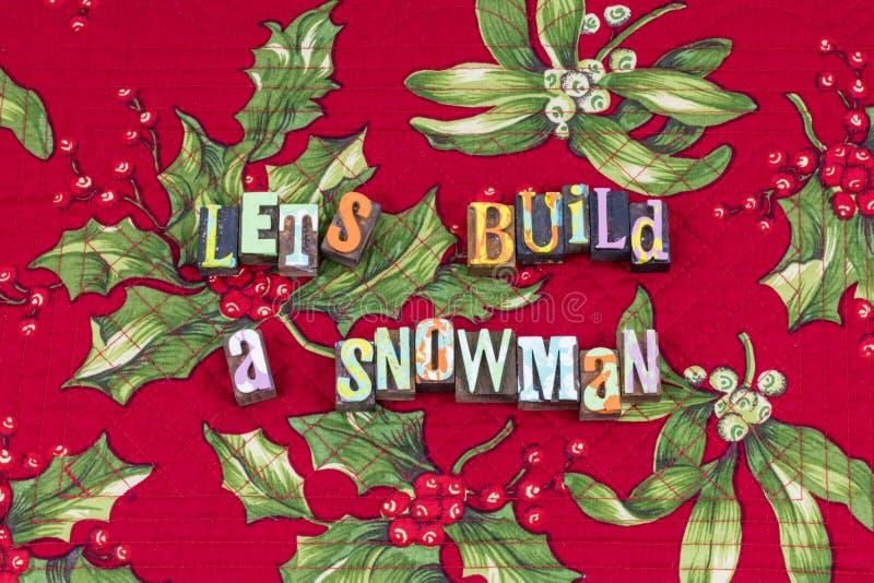 Typographie d'hiver d'amusement de neige de bonhomme de neige de construction image libre de droits