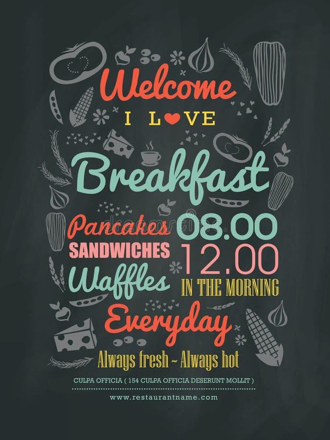 Typographie de conception de menu de café de petit déjeuner sur le panneau de craie illustration stock