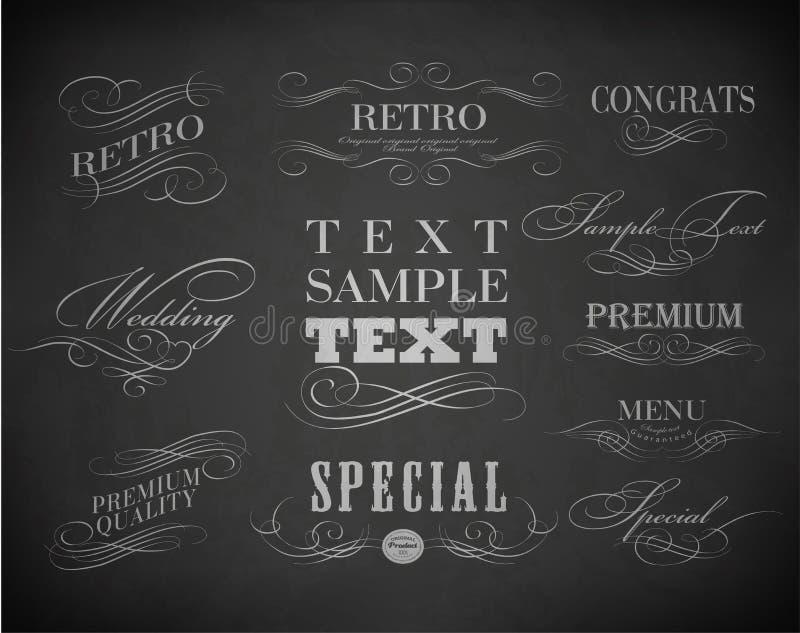 Typographie de craie, éléments calligraphiques de conception illustration libre de droits
