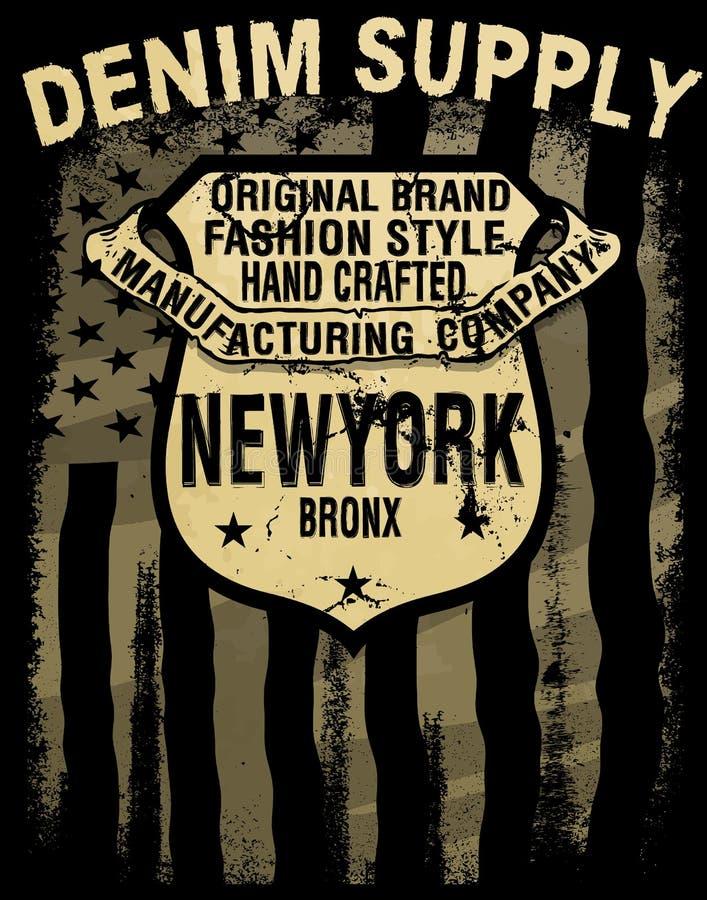 Typographie de denim de l'Amérique de vintage ; graphiques de T-shirt ; vecteurs illustration libre de droits