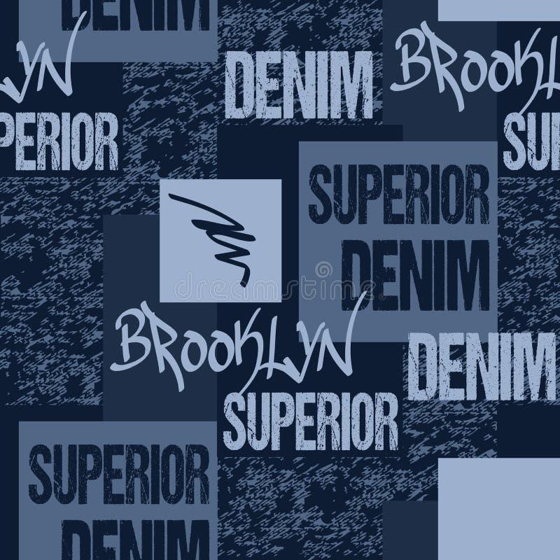 Typographie de denim, pochoir d'habillement d'illustration de Brooklyn New York Graphiques de jeans de mode Modèle sans couture d