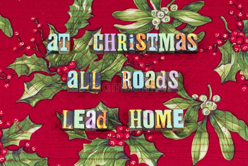Typographie de famille d'accueil de maison de route de Noël image libre de droits