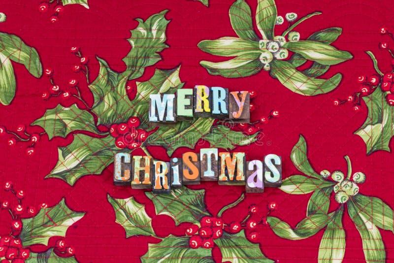Typographie de joie d'amour de paix de Joyeux Noël images libres de droits