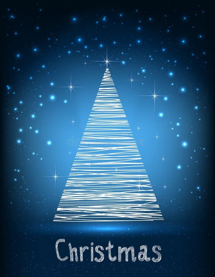 Typographie de Joyeux Noël sur le fond bleu de galaxie avec le sapin et la lumière, étoiles, flocons de neige illustration de vecteur