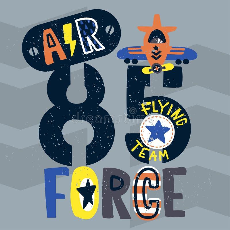 Typographie de l'Armée de l'Air de cru, conception de T-shirt pour des enfants illustration stock