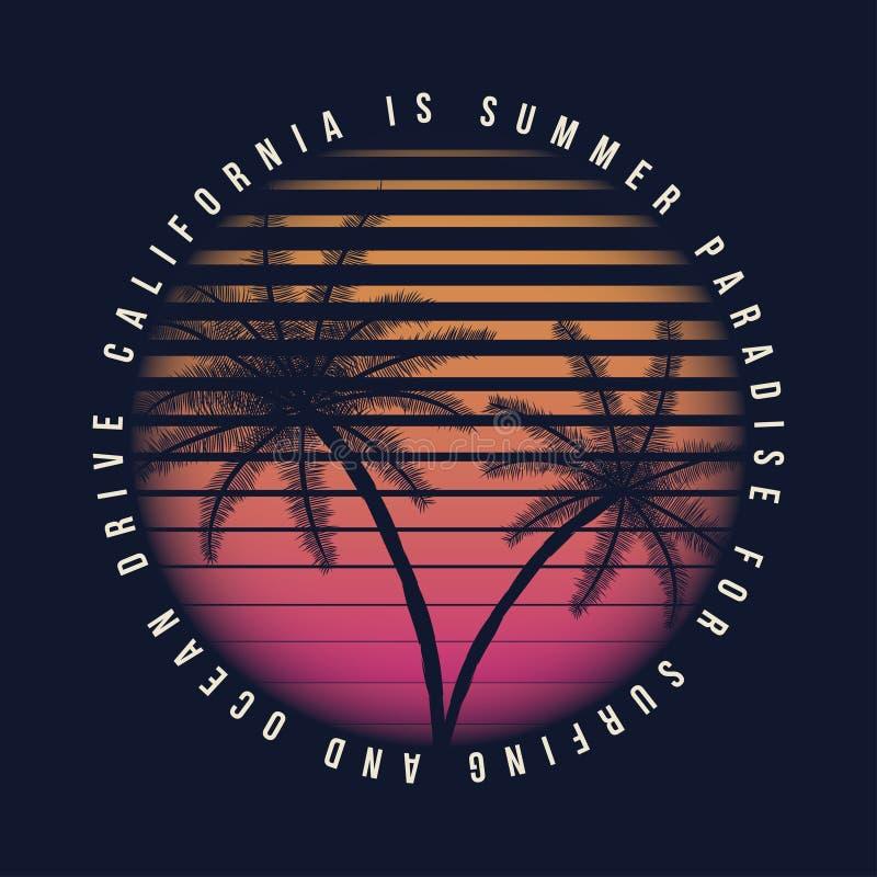 typographie de la Californie de vintage du style 80s Rétros graphiques de T-shirt avec les paumes tropicales de scène et de tropi illustration libre de droits