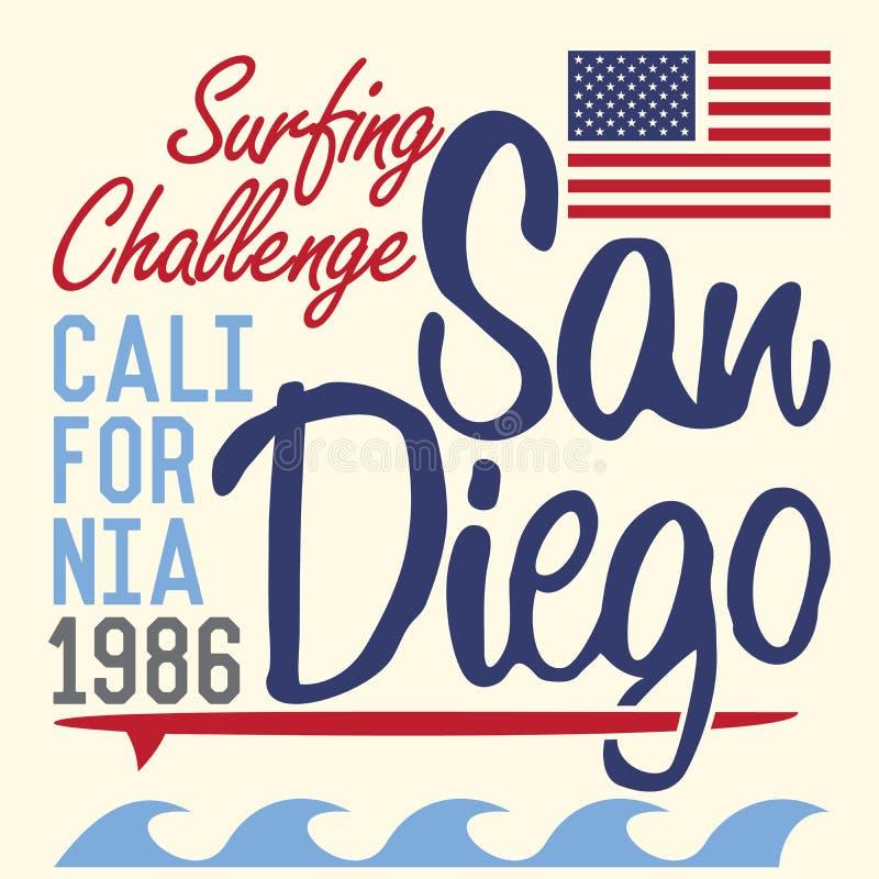 Typographie de la Californie San Diego, conception d'impression de T-shirt, label d'Applique d'insigne de vecteur d'été illustration libre de droits