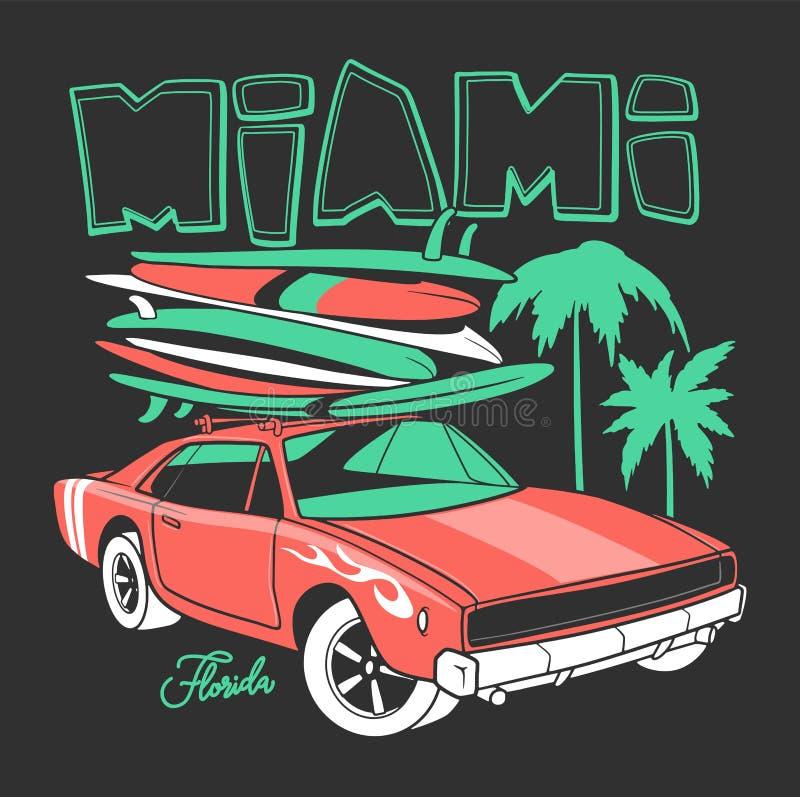 Typographie de Miami pour la copie de T-shirt et la rétro voiture avec la planche de surf illustration stock