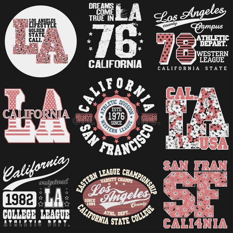 Typographie de mode de T-shirt de la Californie illustration de vecteur
