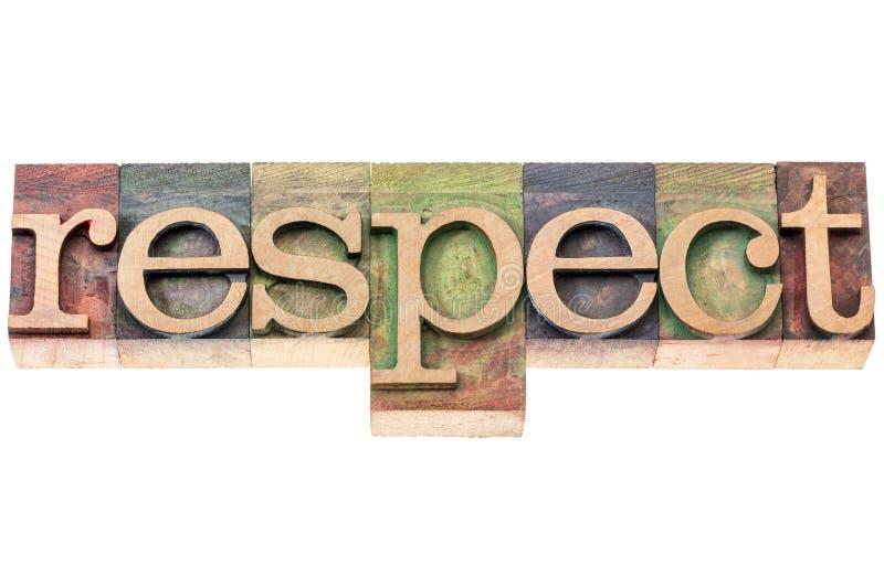 Typographie de mot de respect dans le type en bois image stock