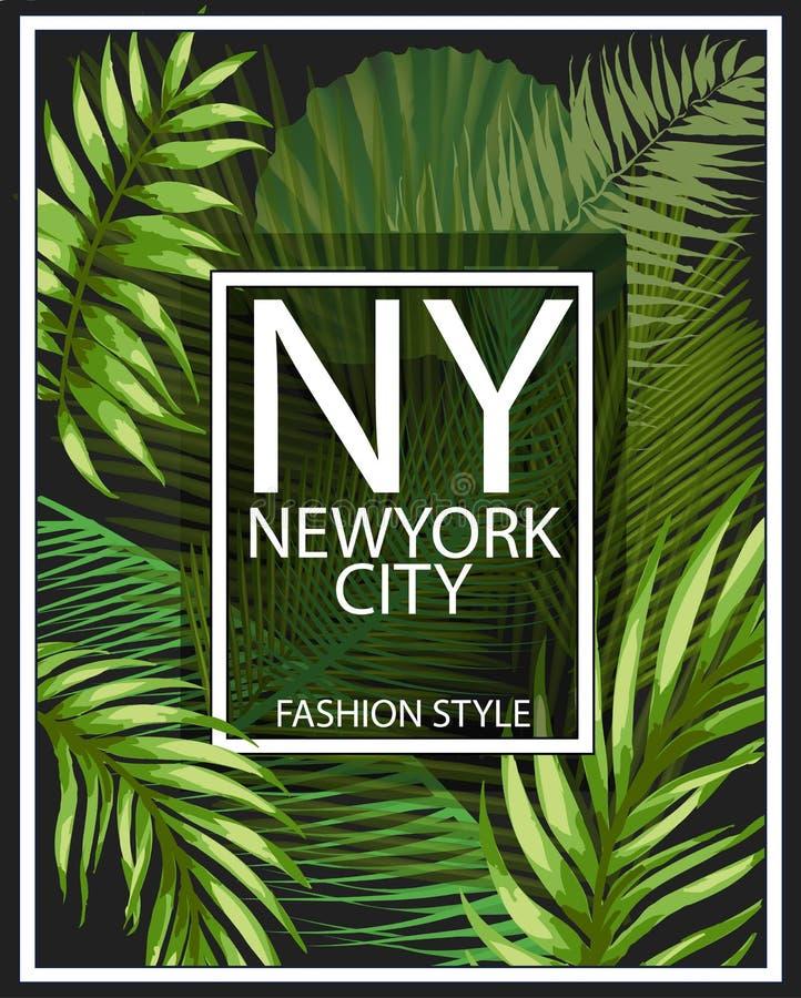 Typographie de New York avec l'illustration florale Graphique de T-shirt illustration de vecteur