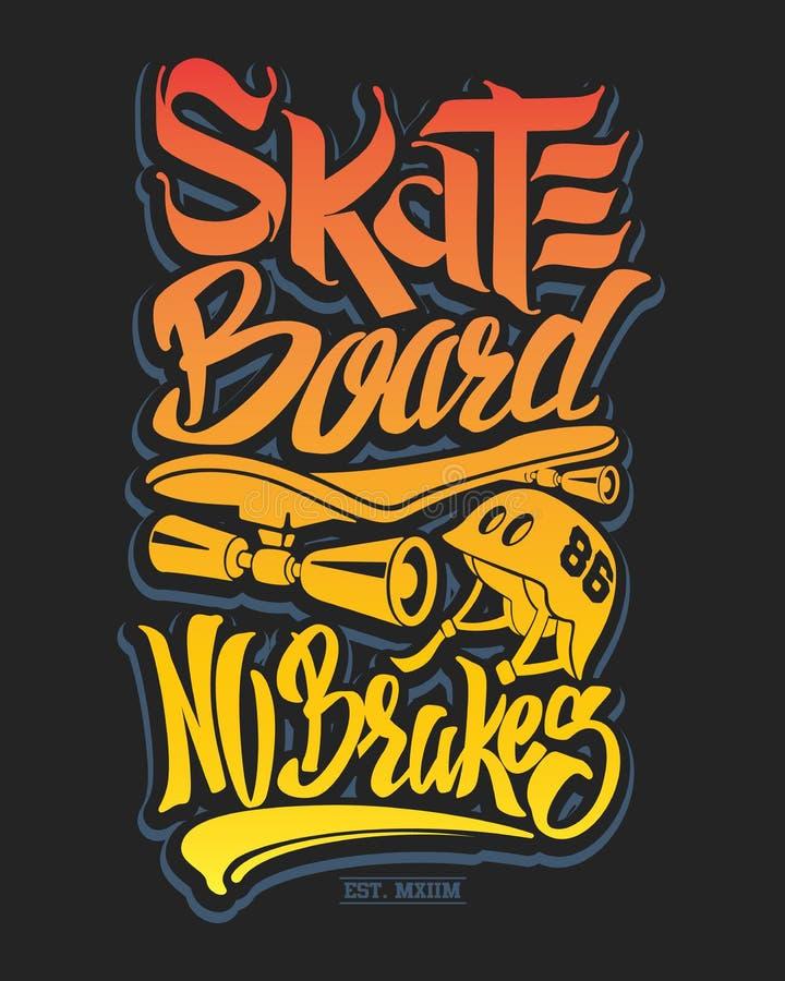 Typographie de panneau de patin, graphiques de T-shirt, vecteurs illustration de vecteur