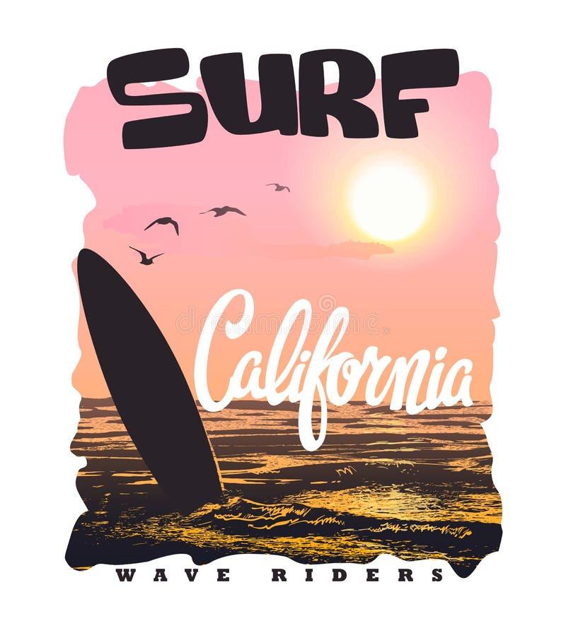 Typographie de ressac de la Californie, graphiques de T-shirt, vecteurs illustration de vecteur