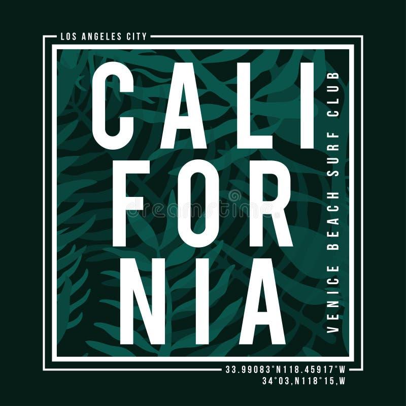 Typographie de ressac de Los Angeles, la Californie pour la copie de T-shirt Palmettes tropicales texture, graphique de T-shirt illustration libre de droits