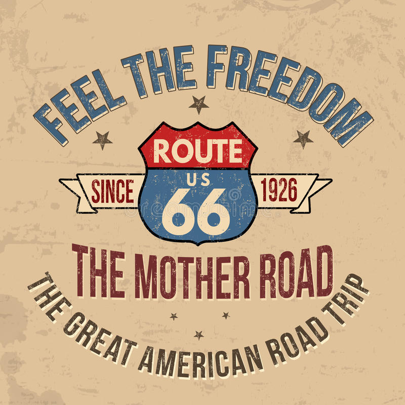 Typographie de Route 66 pour la copie de T-shirt illustration libre de droits