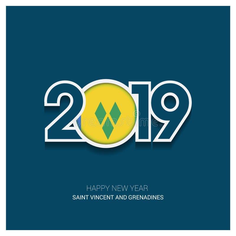 Typographie de Saint Vincent 2019 et de grenadines, CCB de bonne année illustration stock