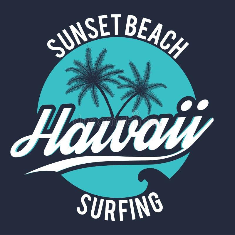 typographie de sport de ressac du style 80s Graphique de T-shirt Graphique de pièce en t d'Hawaï illustration stock