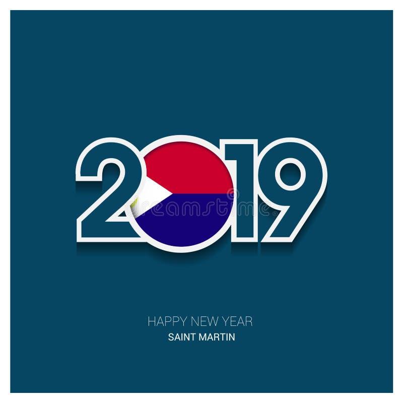 2019 typographie de St Martin, fond de bonne année illustration stock