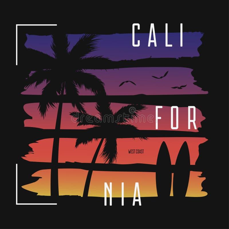 Typographie de T-shirt de la Californie avec des brosses de gradient de couleur et des silhouettes de palmiers Conception ? la mo illustration stock
