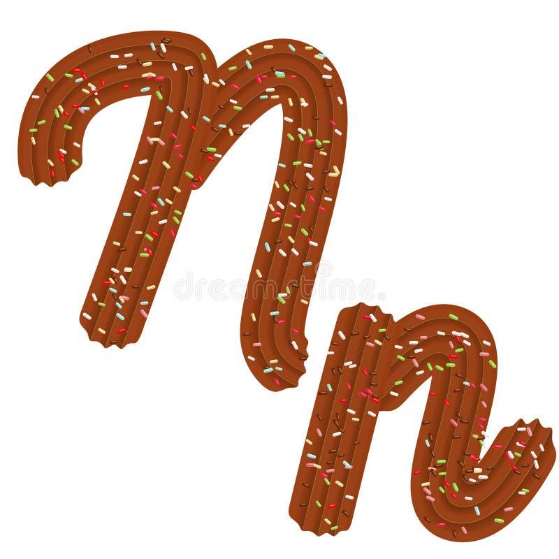 Typographie de tentation Création de fonte 3D lettre N de la crème et de la sucrerie de chocolat illustration libre de droits