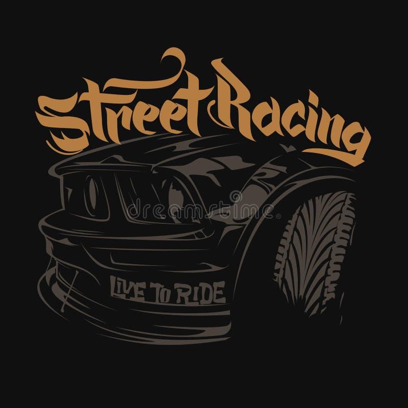 Typographie de voiture de course, graphiques de T-shirt, marquant avec des lettres illustration stock