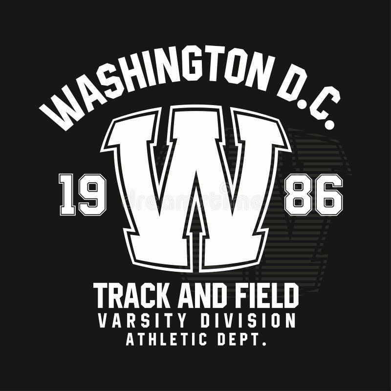 Typographie de Washington pour la copie de T-shirt Athlétisme, graphiques sportifs de T-shirt illustration libre de droits