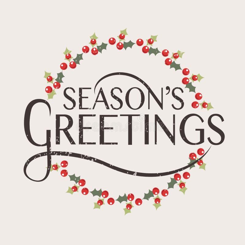 Typographie des salutations de la saison carte de voeux pour de Noël/nouvelle année illustration de vecteur