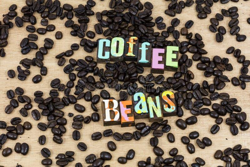 Typographie en bois de coupure de fond de grains de café photo stock
