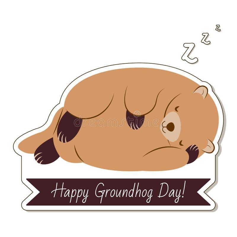 Typographie et conception heureuses de jour de Groundhog avec le caractère mignon de groundhog photographie stock libre de droits