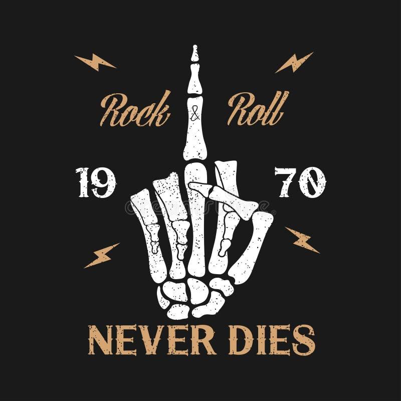 Typographie grunge de musique de Roche-n-petit pain pour le T-shirt Les vêtements conçoivent avec le geste squelettique de doigt  illustration de vecteur