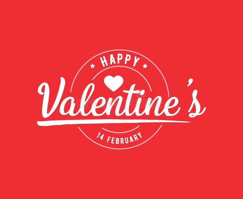 Typographie heureuse de jour de valentines Conception de vecteur illustration libre de droits