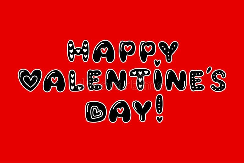 Typographie heureuse de jour de valentines du style 80s mignon illustration de vecteur